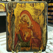 Mother Of God Eleousa Orthodox Hand Painted Icon Mutter Gottes Orthodoxe Ikone