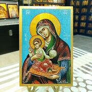 Mother Of God Eleousa Orthodox Icon Hand Painted Icon Mutter Gottes Ikone