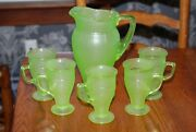 Vintage Green Frosted Uranium Depression Glass Water Pitcher W/ 5 Mugs