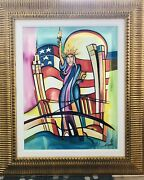 Alfred Gockel Lady Liberty Canvas Giclee Framed And Matted. Signed And Numbered.