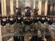 Vintage Italian Murano 24kt Gold Leaf Relief Decanter, Wine Glasses And Tray
