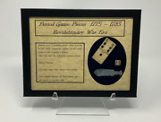 Revolutionary War Era Game Pieces Domino Stamp Act Dice And Poker Chip With Case