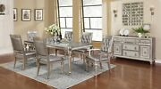 Modern Glam 8-piece Dining Extension Leaf Table And Server Metallic Platinum