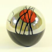 Steven Correia Studio Art Glass Paperweight Birds And Sunset Signed Red Sun 1.8.7