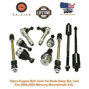 10pcs Engine Ball Joint Tie Rods Sway Bar Link For 02-03 Mercury Mountaineer