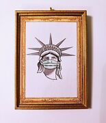 Statue Of Liberty Wearing Face Mask Chrustmas Ornament/magnet/dhm/wall Pandemic