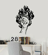 Vinyl Wall Decal Fire Hand Manand039s Fist Strength Power Gym Stickers Mural G3738