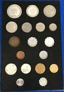 Israel 18 Coins Set 1949-1960and039s - Including 250 And 500 Silver Pruta Unc Coins