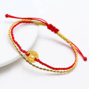Pure 24k Yellow Gold Hollow Coin Bead Red Cord Bracelet For Woman