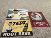 3 Replica Antique Tin Baseball Signs 1 Babe Ruth And 2 Ted Williams