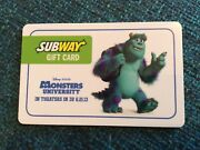 2013 Disney Monsters University Movie Subway Gift Card No Value Collectible