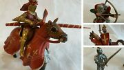 Schleich Medieval Action 4 Figures Knights W/ Horses Archer And Footman Red Gold