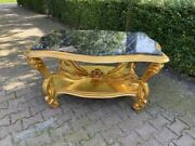 New Gold Wooden Center Table In Rococo/baroque Style With Marble Top