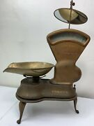 Antique Toledo 3 Lb. Candy Scale Original Conditionandnbsp - 405 With Stand And Mirror