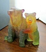 Exquisite Daum Dark Amber And Green Carved Glass Mama And Baby Bear Hand-made Rare