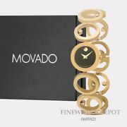 Authentic Movado Womenand039s Ono Black Dial Gold Tone Stainless Steel Watch 0605821
