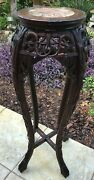 Antique 18th Rose Wood Marble Pedestal Plant Stand