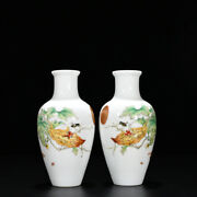 A Pair Collection China Qing Dynasty Enamel Bitter Gourd Pattern Bottle