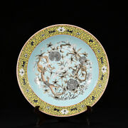 China Qing Dynasty Coral Green Ink Color Tracing Gold Dragon Pattern Disc