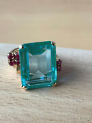 Vintage 14k Yellow Gold Huge Emerald Cut Aqua Green Spinel Ruby Ring Statement