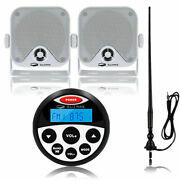 Boat Radio Marine Audio Receiver + 4and039and039 Waterproof Stereo Speakers + Antenna