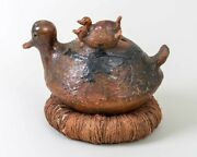 Antique Artist Made Ceramic Nesting Ducks From Fiji / South Pacific 13.5 Long
