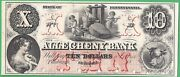 18xx The Allegheny Bank, Pittsburgh Pa 10 Proof Note