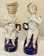 Antique Meissen Marked Porcelain Victorian Flow Blue Statues Of Boy And Girl 8.75