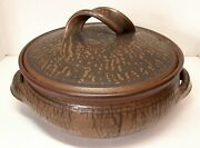 Large 1960s Karen Karnes Pottery Hand Thrown Wood Fired Covered Casserole Dish