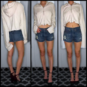 Nwt Re/done Classic Distressed High Waisted Short Denim Shorts Jeans Size 24