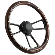 14 Steering Wheel Black Billet And Dark Wood For 1949 1991 Ford Pick Upand039s