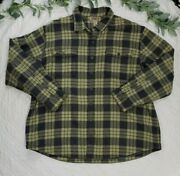 Duluth Trading Company Mens Yellow And Gray Flannel Fleece Lined Button Up 3xlt