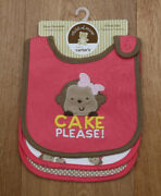 Carter's Chid Of Mine 3 Pack Girls Teething Bibs Cake Please Discontinued