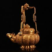 Delicate Old China The Qing Dynasty Pure Copper Gilding Horse Head Pot