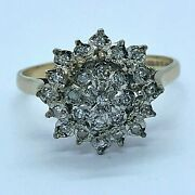 9ct Gold Three Tier Diamond Cluster Ring - V - Inc Valuation Certificate