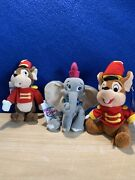 3 Disney Wdcc 1998 Timothy Mouse Beanie Plush Toy Dumbo Open House Exclusive Nwt
