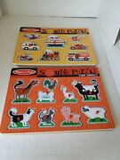Melissa And Doug Vehicles And Farm Animals Sound Puzzle Wooden Peg Puzzle