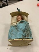 Vintage Rare Cast Iron Metal Baby In Bed With Bluebird Still Piggy Bank 4 X 3