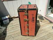 Vintage Excelsor Wardrobe Steamer Trunk Early 1900s Chest Antique Decor