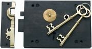 Large Right Hand 7,iron And Brass Carpenter Rim Lock And Keeper And 2 Keys 2006