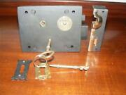 Large Left Hand 7,iron And Brass Carpenter Rim Lock And Keeper And 2 Keys Th 2005