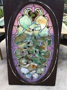 19th Century Antique American Salvaged Stained Glass Jewel Panel For Repairs