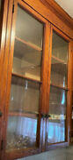 Vintage 2 Glass And Mahogany Cabinet Door And Hardware Please See Descript.