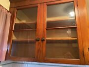 Vintage Kitchen Set Glass And Mahogany Cabinet Doors And Hardware
