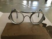 Vintage Antique Wwii Steampunk British Motorcycle Goggles Mesh Sides Bs2092 5322