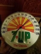 Clean 7up 12 Inch Glass Soda Thermometer Vintage Uncola Peter Max Art 7 Up