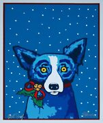George Rodrigue Blue Dog Paper Ribbons And Me Print Signed Numbered Artwork