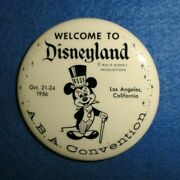 Rare 1956 Disneyland Mickey Mouse Pinback Button A.b.a. Convention Visitor.