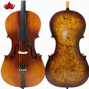 Rare Professional Song Cello 4/4 Solid Bird Eye Maple Back Old Spruce Top