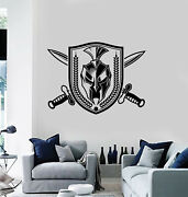 Vinyl Wall Decal Shield Sword Emblem Sparta Soldier Military Stickers G3827